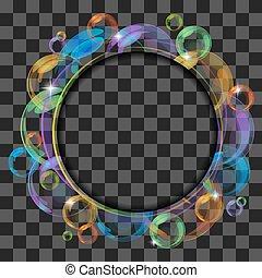 bubbles., 抽象的, 旗, 透明