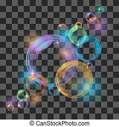 bubbles., 抽象的, 透明, 背景