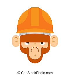 builder., ベクトル, サル, イラスト, マーモセット, 建設, helmet.