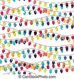 bulbs., 有色人種, 花輪, パターン, seamless, 休日, 光沢がある