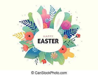 bunny., かわいい, -, 挨拶, ベクトル, デザイン, 花, イースター, カード