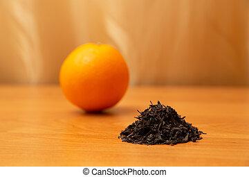 c, curtains., オレンジ, 金 背景, 乾かされた, テーブル。, ビタミン, tea., フルーツ, オレンジ