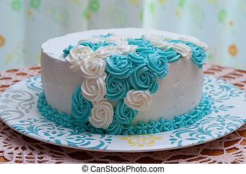 cake., バックグラウンド。, 前部, icing., 花, 作成, ケーキ, クローズアップ, birthday, カーテン, 白, 手製, 青, 飾られる, ビュー。