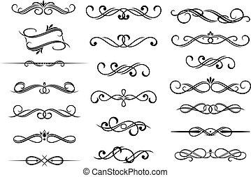 calligraphic, セット, 要素, ボーダー