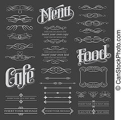 calligraphic, セット, 黒板, スクロール