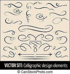 calligraphic, ページ, elements., セット, ベクトル, デザイン, 装飾