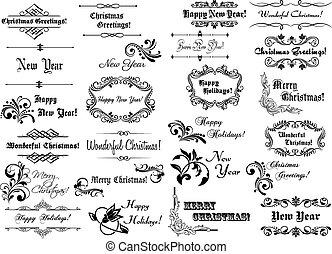 calligraphic, ボーダー, クリスマス, フレーム