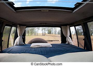 campervan, ベッド, 4wd, 快適である