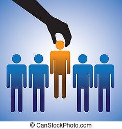 candidate., 作成, 選択, 仕事, イラスト, 最も良く, ショー, 人, 技能, グラフィック, 権利, 多数, 概念, 候補者, 会社, 雇用