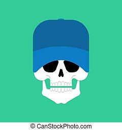 cap., 野球, イラスト, ベクトル, 頭骨, head., スケルトン