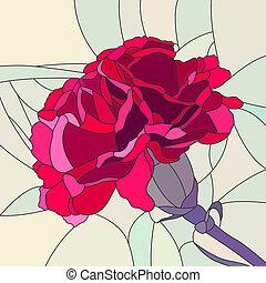 carnation., 花, モザイク, 赤