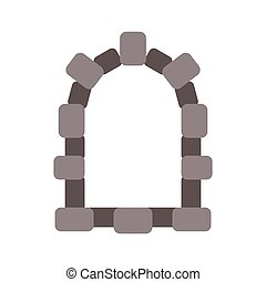 cartoon., 置くこと, イラスト, ベクトル, 窓, 城, 隔離された, 石