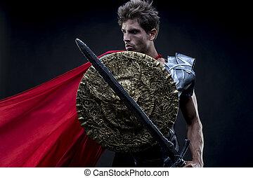 centurion, よろいかぶと, ∥あるいは∥, ローマ人, 力, 鉄, 軍, ヘルメット, horsehair, 戦士, 剣