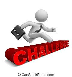 'challenge', 単語, 上に, 跳躍, ビジネスマン, 3d