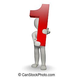 charcter, 人間, ナンバー1, 保有物, 3d