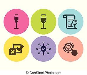 checkbox, ターゲット, アイコン, set., wineglass, レポート, ベクトル, 調査, ガラス, seo, シャンペン, 点検, signs.