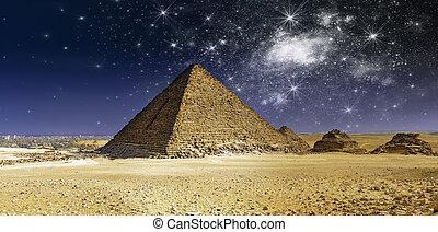 cheops, 上に, ピラミッド, 夜