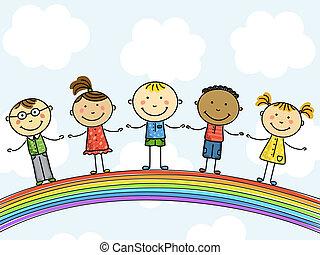 children., illustration., ベクトル