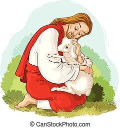 christ., 羊飼い, 寓話, よい, 救助, 失われた, sheep., 捕えられた, イエス・キリスト, 子羊, とげ, 歴史