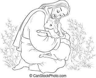christ., 羊飼い, 寓話, よい, 救助, 失われた, sheep., 捕えられた, イエス・キリスト, 着色, 子羊, とげ, ページ, 歴史