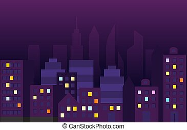 city., ベクトル, 光景, 夜, イラスト