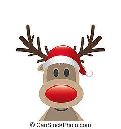 claus, トナカイ, 鼻, サンタの 帽子, 赤