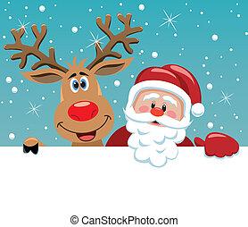 claus, 鹿, rudolph, santa