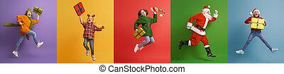 claus, santa, 子供, 多色刷り, バックグラウンド。