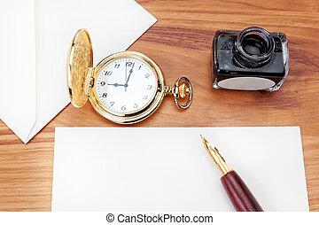 close-up., ハバナ, 準備, cigar., 書きなさい, 手紙