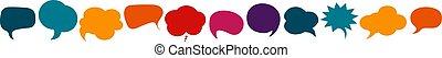 cloud., 有色人種, discussion., concept., 話, bubble., スピーチ, communicate., news., 話す, -, 友情, コミュニケーション, 前方へ, cultures., network., シンボル, 対話, 社会, 多様
