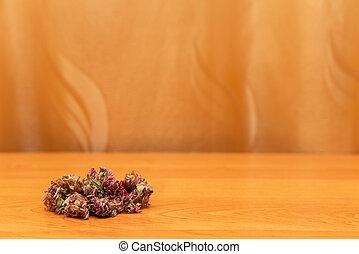 clover., curtains., テーブル, 金, クローバー, 乾燥された 花, うそ, 背景, コーナー