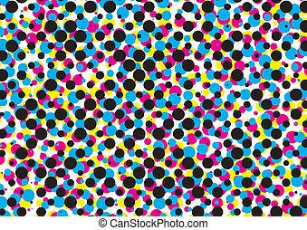 cmyk, ベクトル, 点, パターン