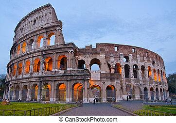 colosseum, ローマ, イタリア, 夕闇