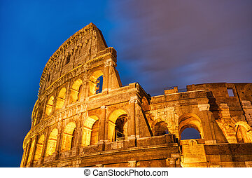 colosseum, ローマ, 夕闇, 照らされた