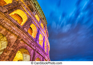 colosseum, 夕闇, 照らされた, ローマ