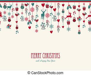 composition., 要素, 装飾, 陽気, 掛かること, クリスマス