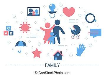 concept., サポート, 愛, 家族, 親