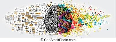 concept., ビジネス, 人間の頭脳, いたずら書き, 左, 権利, 論理, 部分, 創造的, 社会
