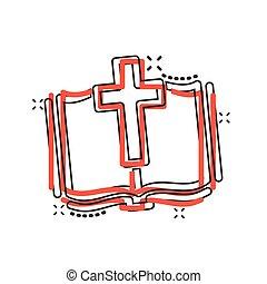 concept., ビジネス, 教会, ベクトル, バックグラウンド。, イラスト, 漫画, 聖書, 隔離された, 信頼, 白, style., 漫画, 効果, アイコン, はね返し, 精神性, 本