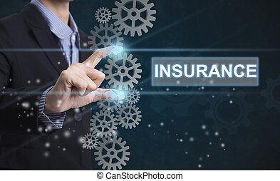 concept., ビジネス, insurance., 印, 選り抜き, 事実上, 手, 言葉遣い, screen., ビジネスマン