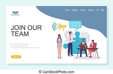 concept., 人々, ページ, 平ら, ビジネス チーム, グループ, チームワーク, チーム, 着陸, 参加しなさい, 私達の, template.