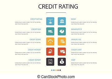 concept., 選択, infographic, 10, 評価, 破産, 危険, クレジット, スコア