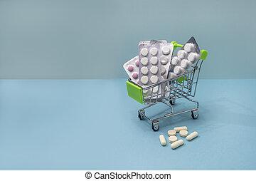 concept., 青, 丸薬, コピー, 様々, cart., スペース, 医学, 背景, 薬, 買い物