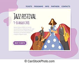 concert., トリオ, poster., 祝祭, ジャズ, ヘッダー, 能力を発揮する, サイト, ベクトル, 音楽, テンプレート, デザイン, 旗, ∥あるいは∥, illutration