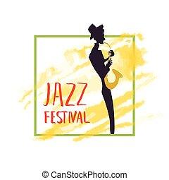 concert., 音楽家, プレーする, 祝祭, ポスター, ジャズ, 黄色, 水彩画, バックグラウンド。, saxophone., 音楽, しみ, ∥あるいは∥