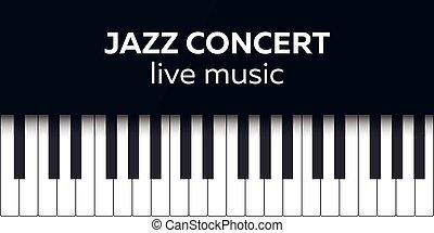 concert., illustration., ポスター, ジャズ, keys., 生きている, ベクトル, 音楽, ピアノ, design., コンサート