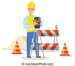 construction., geodesist, 仕事, 建築者, tachymeter, ヘルメット, 測定, 取得, エンジニア