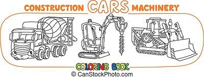 constuction, 面白い, set., 着色, 自動車, 本