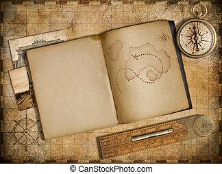 copybook, 型, 旅行, 地図, 冒険, コンパス, concept.