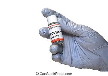 coronavirus., バックグラウンド。, 隔離された, covid-19, 白, concept., 手, 医者, coronavirus, に対して, 概念, 手袋, ジャー, 戦い, 把握, ワクチン, 青